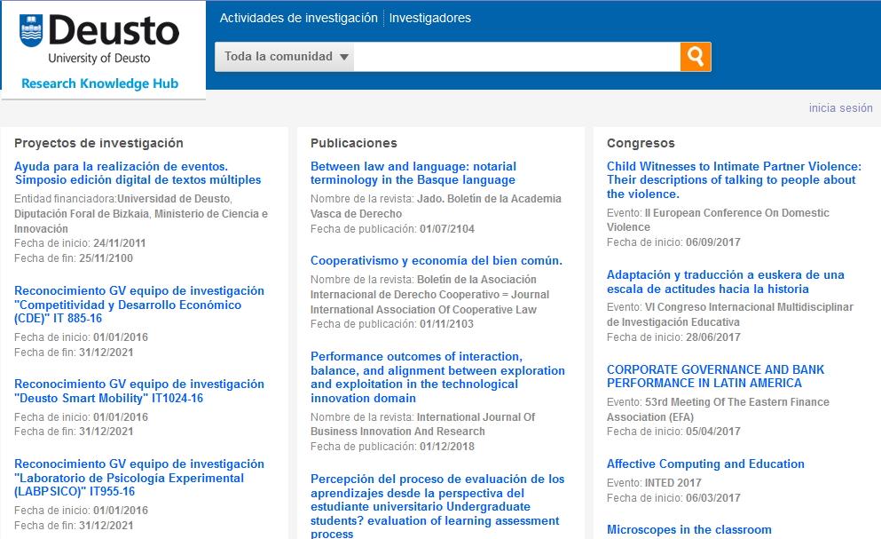GNOSS desarrolla la infraestructura semántica de publicación de los datos de investigación de la Universidad de Deusto