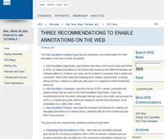 3 recomendaciones para habilitar Anotaciones en la Web. W3C