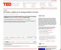 """Eli Pariser: cuidado con la """"burbuja de filtros"""" en la red. TED"""