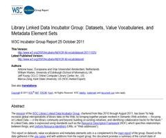 Library Linked Data Incubator Group: Datasets, Value Vocabularies, and Metadata Element Sets