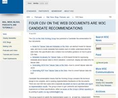 Nuevas especificaciones para CSV ON THE WEB. Candidate Recommendation stage. W3C