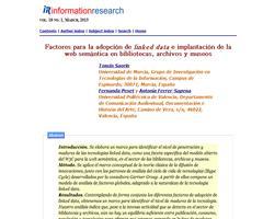 Factores para la adopción de linked data e implantación de la web semántica en bibliotecas, archivos y museos