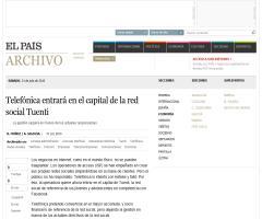 Telefónica entrará en el capital de la red social Tuenti (elpais.com)